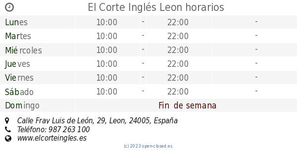 b4cc922ceeb El Corte Inglés Leon horarios