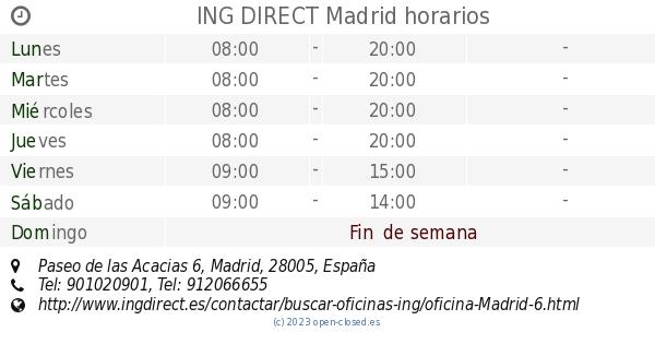 Ing direct madrid horarios paseo de las acacias 6 for Horario de oficinas de ing direct en madrid