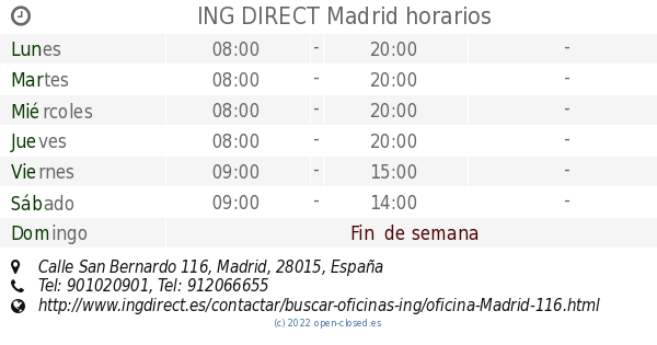 Ing direct madrid horarios calle san bernardo 116 for Horario de oficinas de ing direct en madrid