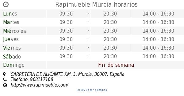 Rapimueble Murcia horarios, CARRETERA DE ALICANTE KM. 3