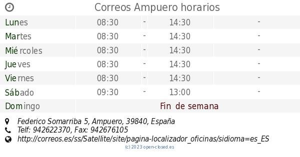 Correos ampuero horarios federico somarriba 5 - Horario oficina correos madrid ...