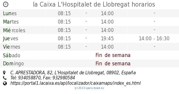 La caixa l 39 hospitalet de llobregat horarios c for Horario oficinas la caixa madrid
