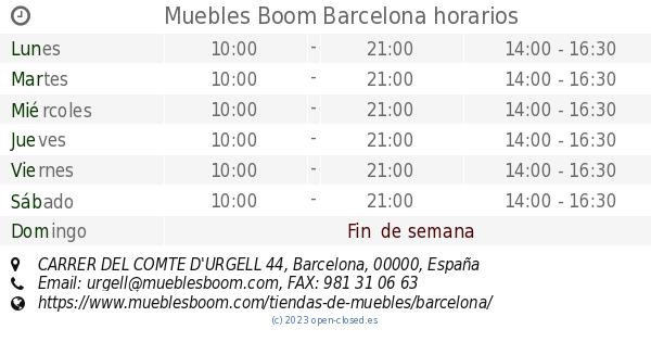 Muebles boom barcelona horarios carrer del comte d 39 urgell 44 - Muebles arganda horario ...