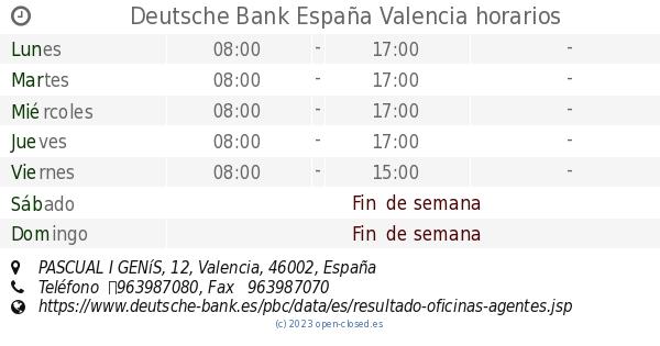 Deutsche bank espa a valencia horarios pascual i gen s 12 for Horario oficina correos valencia
