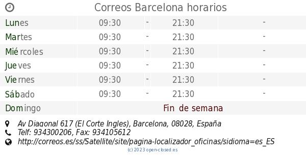 Correos barcelona horarios av diagonal 617 el corte ingles - Oficinas el corte ingles barcelona ...