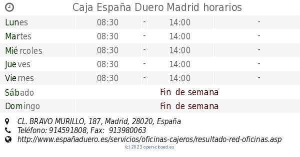 Caja espa a duero madrid horarios cl bravo murillo 187 - Oficina virtual caja espana duero ...