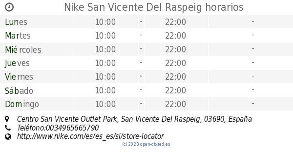 el centro comercial liberal mendigo  Nike San Vicente Del Raspeig horarios, Centro San Vicente Outlet Park