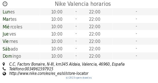 Supervisar Inapropiado posición  Nike Valencia horarios, C.C. Factory Bonaire, N-III, km345 Aldaia