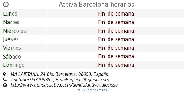 Activa Barcelona Horarios Via Laietana 24 Bis