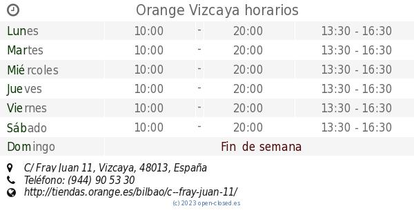 ea7de353e9291 Orange Vizcaya horarios