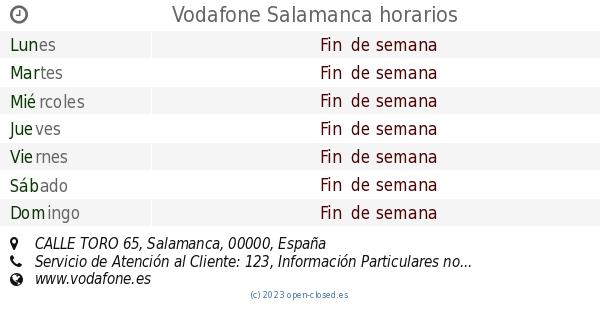 21e936d18c9 Vodafone Salamanca horarios, CALLE TORO 65