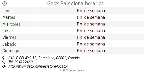 Sitio de Previs Unidad palo  Geox Barcelona horarios, CALLE PELAYO 12