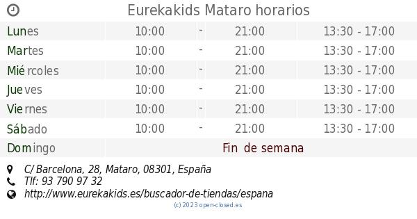 HorariosC Mataro Barcelona28 Barcelona28 Eurekakids Mataro Eurekakids HorariosC UpqSVzM