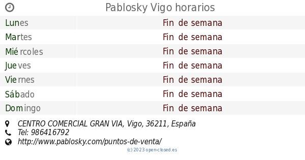 Pablosky Vigo horarios 1b0dbcf707f