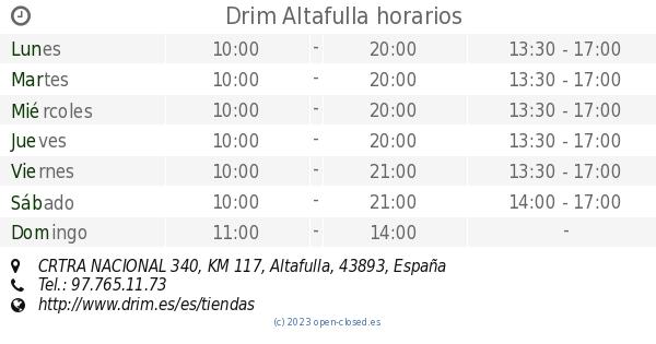 Altafulla 340Km Nacional 117 HorariosCrtra Drim KlF31TcJ