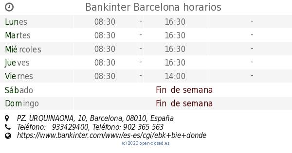 Bankinter barcelona horarios pz urquinaona 10 for Buscador oficinas bankinter